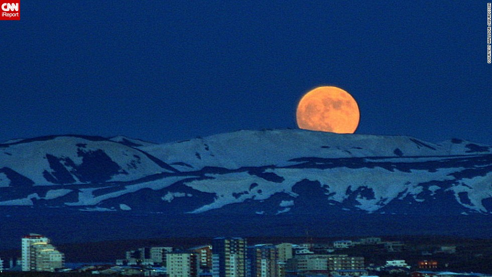 "CNN iReporter Halldor Sigurdsson captured this photo of the ""super moon"" of 2012 over Reykjavik, Iceland."