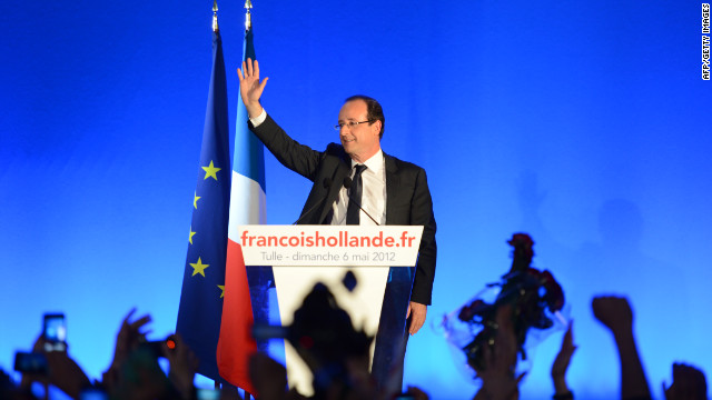 Francois Hollande gives his victory speech in Tule, France, after Sunday's presidential runoff election.