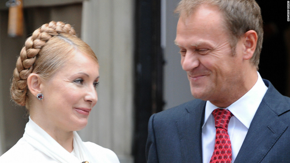 Here Tymoshenko meets with Polish Prime Minister Donald Tusk. Although it was all smiles on the international stage, domestically Tymoshenko and President Yushchenko were locked in a bitter power struggle.