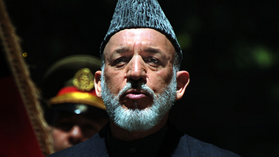 Afghan President Hamid Karzai speaks at a press conference in Kabul on May 3.