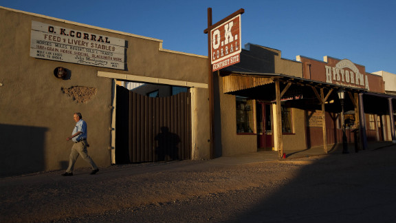 The famous Gunfight at the O.K. Corral between Wyatt Earp, Doc Holliday and a band of outlaw cowboys took place in Tombstone in 1881. Actors re-enact the 30-second gunfight that made Tombstone famous for the tourists.