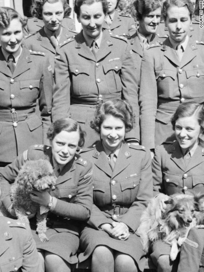 """HRH Princess Elizabeth (center) undergoing instruction at the Auxiliary Territorial Service training centre in April 1945. Courtesy <a href=""""http://www.iwm.org.uk/"""" target=""""_blank"""" target=""""_blank"""">Imperial War Museum </a>"""