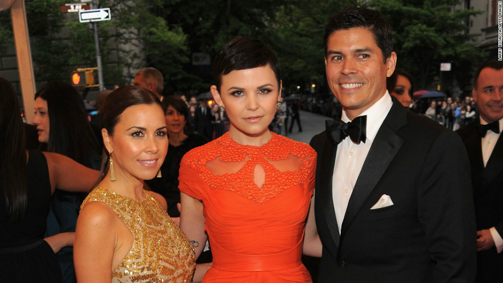 Lhuillier with actress Ginnifer Goodwin in one of her designs, and Lhuillier's husband Tom Bugbee at the Costume Institute Gala in New York this week.