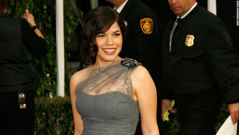 """Ugly Betty"" actress America Ferrara chose a Monique Lhuillier dress for the 2008 Screen Actors Guild awards."