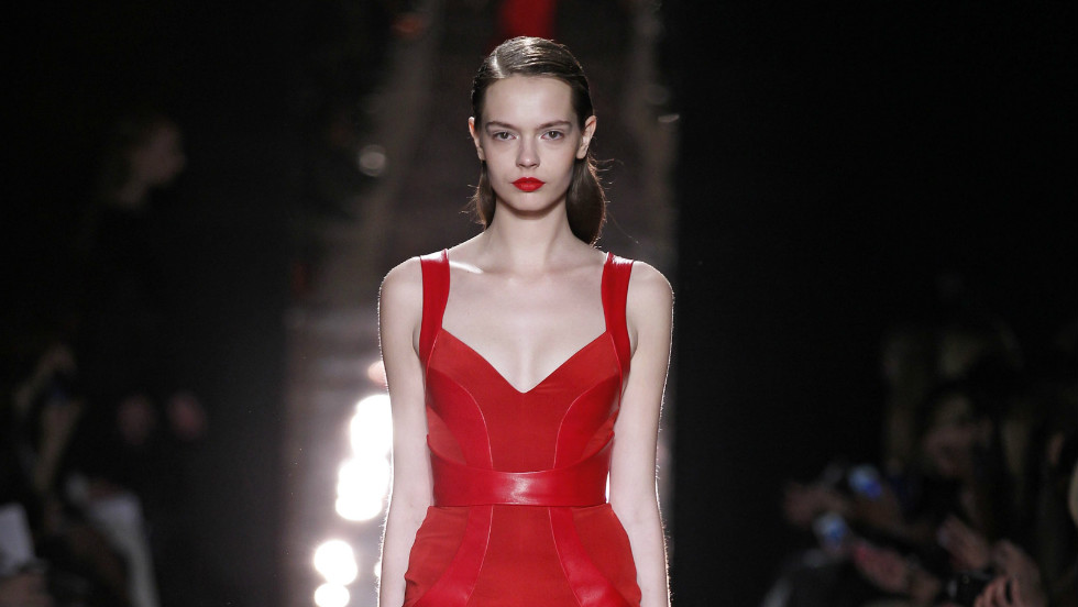 Lhuillier says her ready-to-wear collections give her an opportunity to experiment with line and bold color, as seen in this look from her Fall 2012 collection.