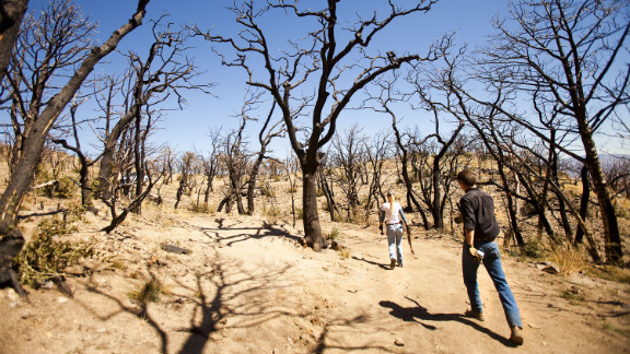 Tombstone city workers Kevin Rudd and Sherry Kammeyer walk through the charred forest in Carr Canyon.