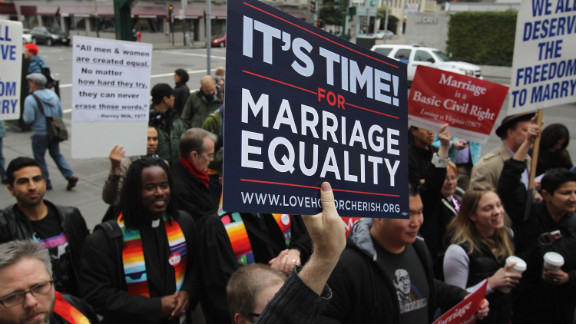 Opponents of Proposition 8, California's anti-gay marriage bill, celebrate the court's overturning of it in February