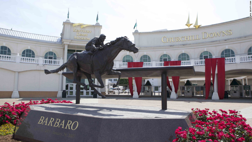 A statue of Barbaro takes pride of place at Churchill Downs. The bay colt captured the hearts of the American public when he won the Kentucky Derby by seven lengths in 2006 -- but then dramatically broke down in the Preakness Stakes, the second leg of thoroughbred racing's Triple Crown. <em>Words and pictures by CNN's Paul Devitt.</em>
