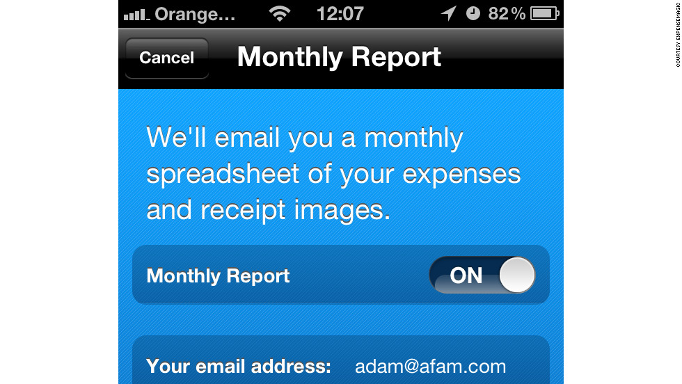 A screen shot of the ExpenseMagic app. This enables users to input their expenses data by taking a photograph of a receipt or bill before sending it to an external team of accountants who process the information.