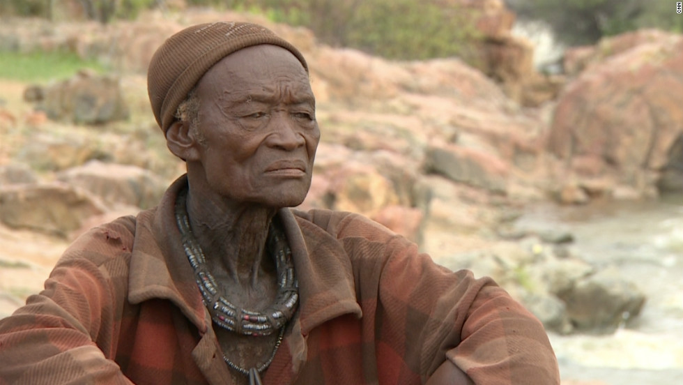 Hikuminue Kapika, chief of the Himba village of Omarumba on northern Namibia. He leads a village of about 20 people and inherited his chiefly title from his father.