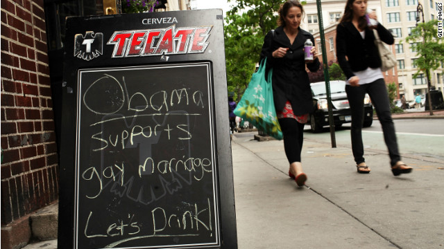 The historic Greenwich Village gay bar, Stonewall Inn, invites customers to celebrate Obama's support of gay marriage.