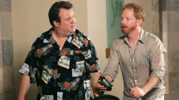 "Mitchell Pritchett (Jesse Tyler Ferguson, right) and Cameron Tucker (Eric Stonestreet) adopted a baby girl named Lily on the pilot episode of ""Modern Family"" in 2009. The pair made plans to adopt another child during the third season of the ABC show."