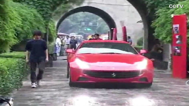 Sports car damages ancient Chinese site