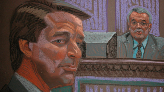 John Edwards is sketched at his trial on Thursday. On the witness stand is New York businessman Leo Hindery..