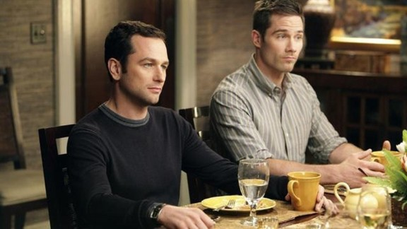 "On ""Brothers and Sisters,"" which aired on ABC from 2006 to 2011, Kevin Walker (Matthew Rhys, left) proposed to Scotty Wandell (Luke Macfarlane). The pair had two children, Olivia and Daniel."