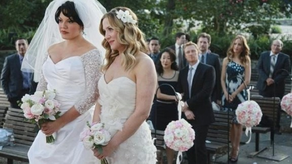 "Dr. Callie Torres (Sarah Ramirez, left) and Dr. Arizona Robbins (Jessica Capshaw) were married during the  seventh season of ""Grey"