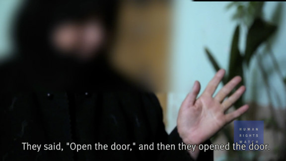A still from a video interview with a Syrian woman who alleged her sons were killed. Human Rights Watch shot the footage in late April.