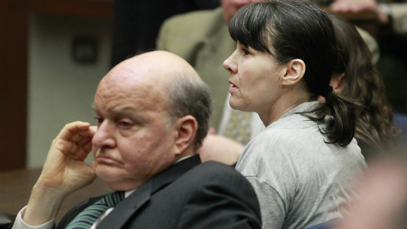 Attorney Mark Overland, left, and former Los Angeles police detective Stephanie Lazarus await the verdict.
