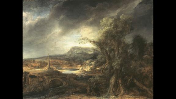 """""""Landscape with an Obelisk"""" by Govaert Flinck"""
