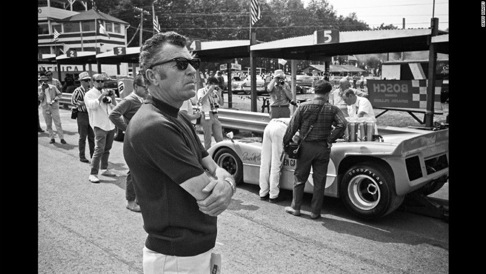 Shelby attends the Road America CanAm in 1968 in Elkhart Lake, Wisconsin.