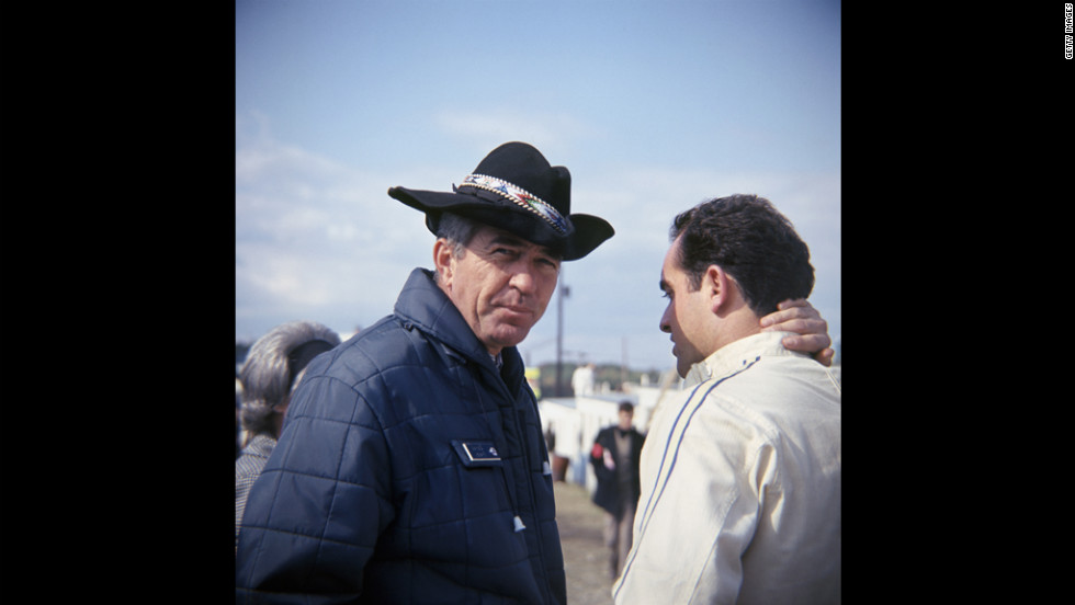 Shelby, left, and Bob Bondurant before the USRRC race in 1967 at Watkins Glen, New York.