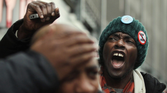"""Opponents of the New York Police Department 's """"stop, question and frisk"""" policy march through the Bronx on January 27."""