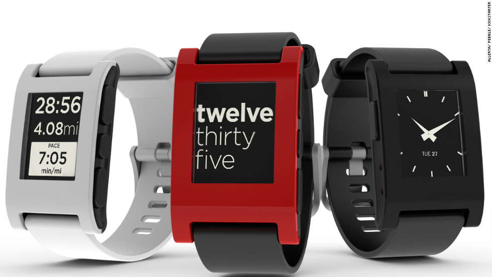 "The $150 <a href=""http://getpebble.com"" target=""_blank"">Pebble</a> waterproof watch has a black-and-white, e-paper screen, which can be customized with specially designed watch faces. It connects to iOS and Android smartphones over Bluetooth and vibrates to notify the wearer of incoming calls, e-mail, texts and other alerts. There are also downloadable music and sports apps."
