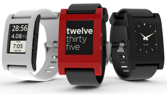 """The $150 <a href=""""http://getpebble.com"""" target=""""_blank"""" target=""""_blank"""">Pebble</a> waterproof watch has a black-and-white, e-paper screen, which can be customized with specially designed watch faces. It connects to iOS and Android smartphones over Bluetooth and vibrates to notify the wearer of incoming calls, e-mail, texts and other alerts. There are also downloadable music and sports apps."""
