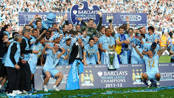 Manchester City beat archrivals and neighbors Manchester United to the English Premier League title on goal difference, after two goals in stoppage gave Roberto Mancini