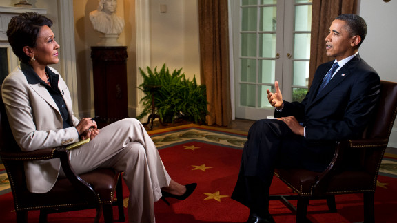 """President Barack Obama tells Robin Roberts of ABC's """"Good Morning America"""" on May 9 that he supports same-sex marriage."""
