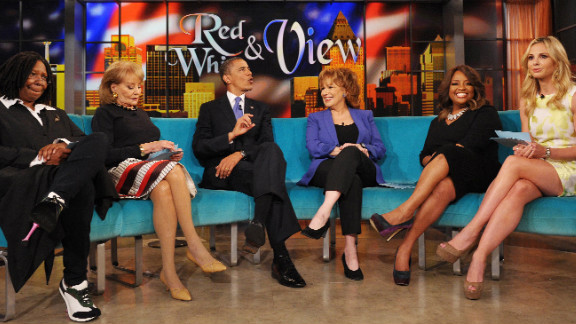 "President Barack Obama appears on ""The View"" at ABC Studios in New York on Monday."