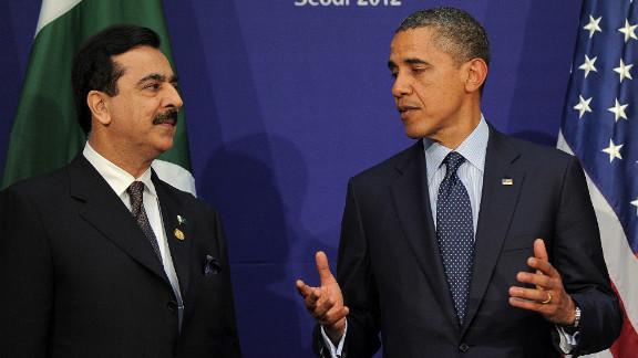 President Obama talks with Pakistan's Prime Minister Yousuf Raza Gilani. Pakistan has accepted NATO's invitation to the Chicago summit.