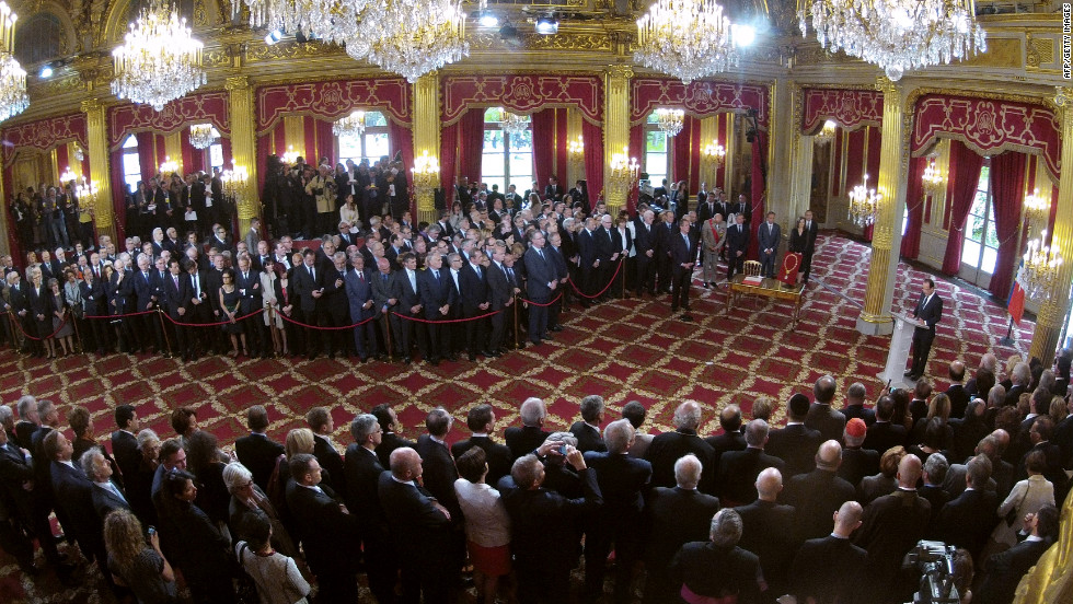 Hollande speaks during the handover ceremony at the Élysée Palace in Paris.