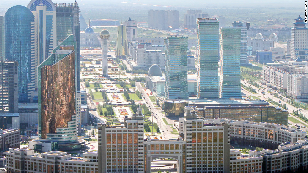An aerial view of the city of Astana, taken on July 28, 2011. It was known as Akmola until 1998, renamed Tselinograd under Soviet rule from 1961-1992, and before that was called Akmolinsk.