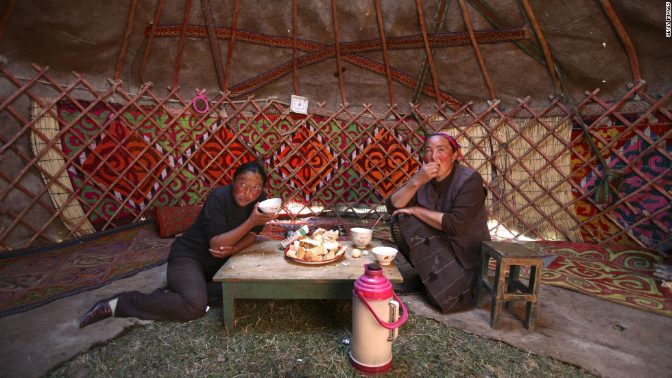 Kazakh, Central Asian and Russian cuisines as well as Italian, Turkish and Korean restaurants are popular. Traditionally, guests are offered Kazhak food at the low table in a yurt, a traditional Kazhak house.