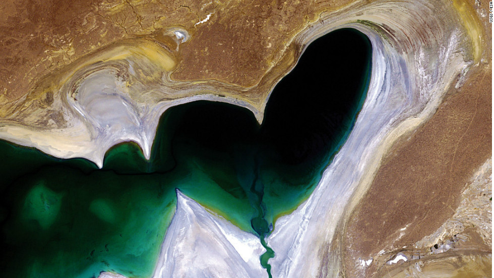 The heart-shaped northern tip of the South Aral Sea in Central Asia. Once the world's fourth-largest inland body of water, the Aral Sea has been steadily shrinking over the past 50 years since the rivers that fed it were diverted for irrigation.