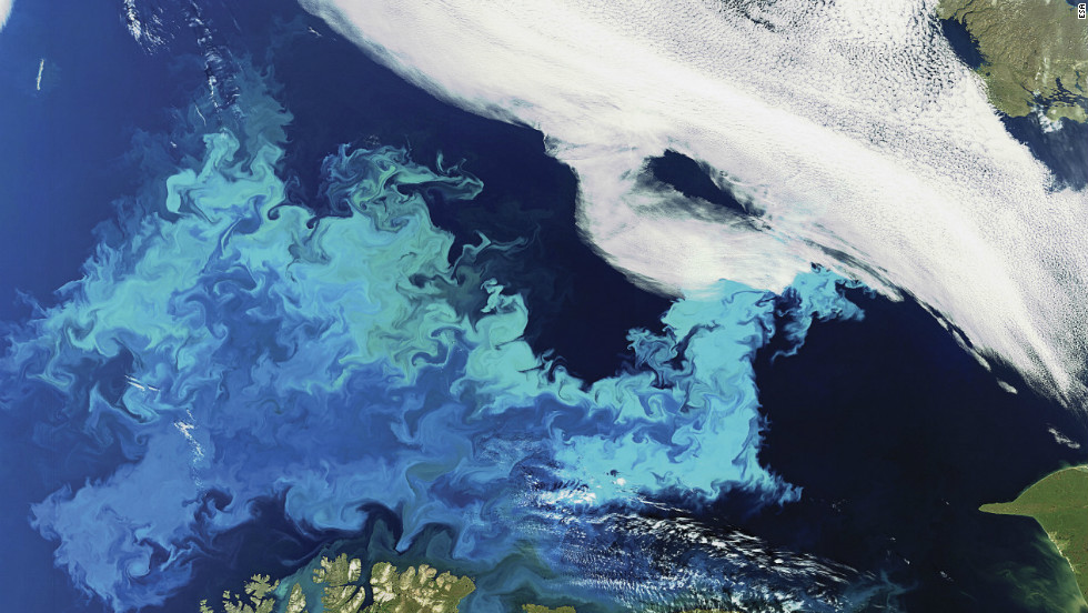 A phytoplankton bloom stretches across the Barents Sea off the coast of mainland Europe's most northern point, Cape Nordkinn, highlighting the whirls of ocean currents in spectacular shades of blue and green.