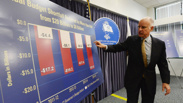 Gov. Jerry Brown speaks at a news conference about California's budget problems on Monday.