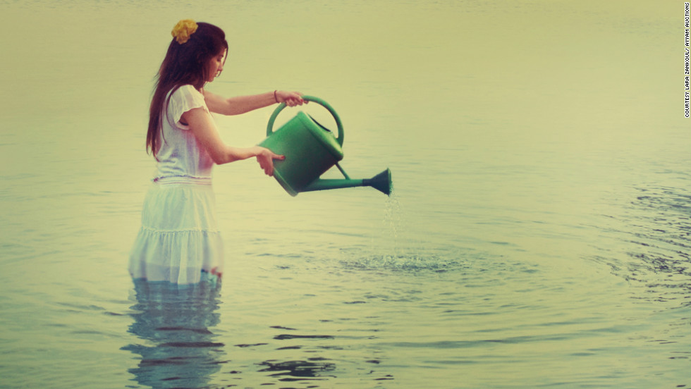 "This week's Young Collectors Auction, in Dubai, includes a number of young artists who could be stars of the future.Lara Zankoul's photography consists of surreal compositions she recreates from her imagination, rather than an attempt to capture reality.This photograph, ""Excess,"" shows the irrelevance of the water in the watering can compared to the sea."