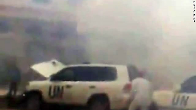 An image grab from Youtube on May 15, 2012 allegedly shows a UN observers convoy after a roadside bomb exploded.