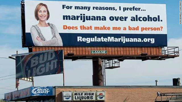 An advocacy group unveiled this billboard near Denver's Mile High stadium months before a ballot to legalize marijuana.