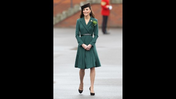 Kate donned a belted emerald coat by Emilia Wickstead on St. Patrick