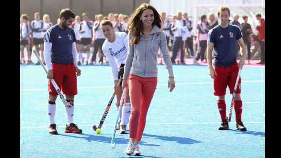 She ditched her usual heels and fascinator to play field hockey with Great Britain