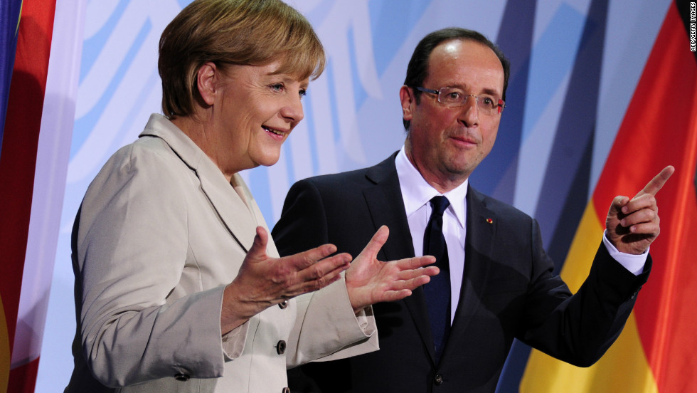 The leaders of Germany and France, Angela Merkel and Francois Hollande, are struggling to keep the European Union -- and the euro -- together in the face of the eurozone crisis.