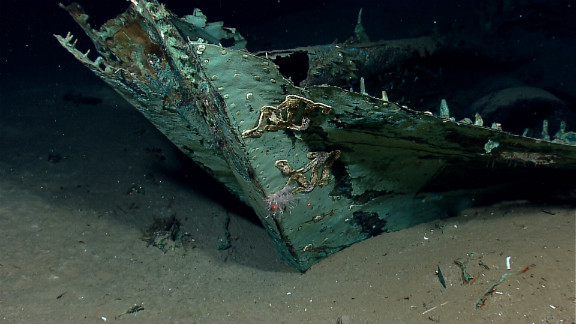 Images of a shipwreck found in the Gulf of Mexico showed that its wooden construction has been destroyed by underwater organisms, but copper sheeting that protected the ship