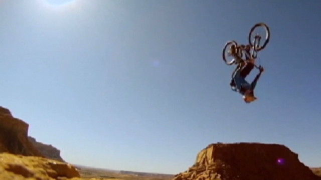 Rider tries double backflip on mountain