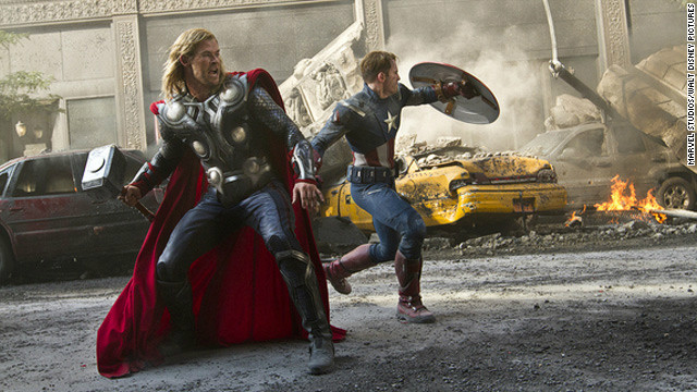 Thor and Captain America fight to save the planet in The Avengers, a tremendous box office success.