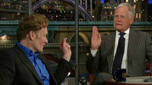 Conan jabs at Leno while on Letterman