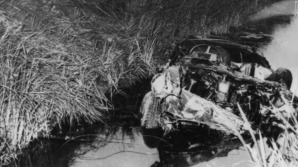 The wreckage of De Portago's car after his fatal crash in the Italian village of Guidizzolo.