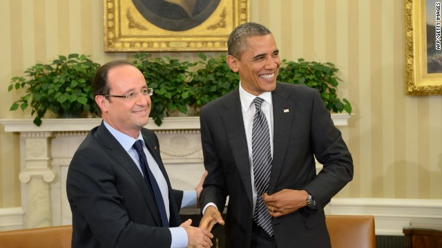 French President Francois Hollande and U.S. President Barack Obama met at the White House May 18, 2012.